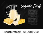 organic food banner with dairy... | Shutterstock .eps vector #513081910