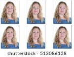 passport picture of woman with... | Shutterstock . vector #513086128