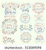 baby shower.cute.welcome.it s a ... | Shutterstock .eps vector #513089098