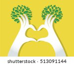 hands heart shape with leaves   ... | Shutterstock .eps vector #513091144