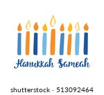 happy hanukkah  hand written... | Shutterstock .eps vector #513092464