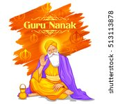 illustration of happy guru... | Shutterstock .eps vector #513113878