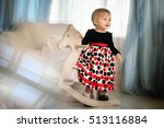 the little girl with a wooden... | Shutterstock . vector #513116884