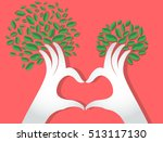 hands heart shape with leaves   ...   Shutterstock .eps vector #513117130