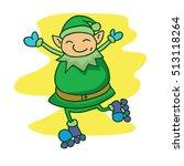illustration of elf with roller ... | Shutterstock .eps vector #513118264