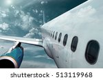 airplane at fly on the sky with ... | Shutterstock . vector #513119968