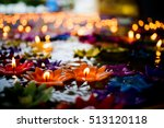 candle carved lotus floating on ... | Shutterstock . vector #513120118