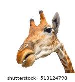 Cute Giraffe Isolated On White...