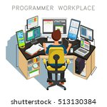 the programmer writes code.... | Shutterstock . vector #513130384
