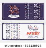 two vector christmas stylized... | Shutterstock .eps vector #513138919