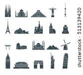 landmark icons set | Shutterstock .eps vector #513139420