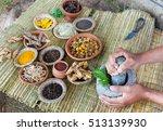 a young man preparing ayurvedic ... | Shutterstock . vector #513139930