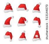 just red christmas santa hat at ... | Shutterstock .eps vector #513144070
