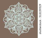 outline mandala on brown... | Shutterstock .eps vector #513159529