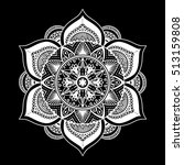 outline mandala white overlay.... | Shutterstock .eps vector #513159808