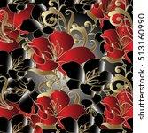 modern floral seamless pattern... | Shutterstock .eps vector #513160990