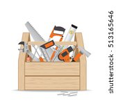 wooden toolbox with repair and... | Shutterstock .eps vector #513165646