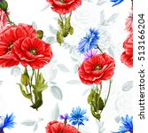 poppy with cornflowers and... | Shutterstock .eps vector #513166204