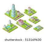 isometric city buildings vector ... | Shutterstock .eps vector #513169630