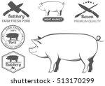 set of vector labels of pork ... | Shutterstock .eps vector #513170299