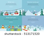 winter tour. mountain landscape.... | Shutterstock .eps vector #513171520