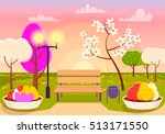 spring scenery. urban park with ... | Shutterstock .eps vector #513171550