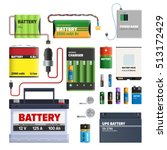 set of batteries. primary cells ... | Shutterstock .eps vector #513172429
