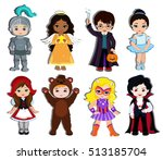 halloween children trick or... | Shutterstock . vector #513185704