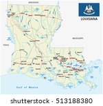 louisiana road map with flag | Shutterstock .eps vector #513188380