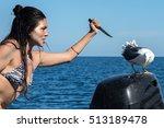black hair latina girl stabbing ... | Shutterstock . vector #513189478