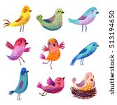 set of painted birds. pastel... | Shutterstock . vector #513194650