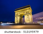 arc de triomph in paris at night | Shutterstock . vector #513195979