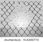 chainlink fence hole... | Shutterstock .eps vector #513200773