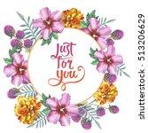 wildflower hibiscus wreath in a ... | Shutterstock . vector #513206629