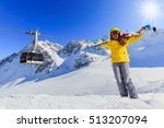 smiling girl standing with ski... | Shutterstock . vector #513207094
