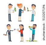 drunk people in rumpled clothes ... | Shutterstock .eps vector #513207196