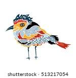 kids stylized bird.hand drawn... | Shutterstock .eps vector #513217054