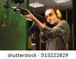 the woman at the shooting range ... | Shutterstock . vector #513222829
