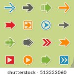arrow web icons on color paper... | Shutterstock .eps vector #513223060