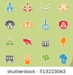 circus web icons on color paper ... | Shutterstock .eps vector #513223063