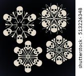 set of vector snowflakes made... | Shutterstock .eps vector #513226348
