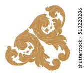 gold vintage baroque corner... | Shutterstock .eps vector #513228286