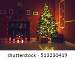 christmas living room with... | Shutterstock . vector #513230419