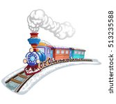 colorful train covered in snow... | Shutterstock . vector #513235588