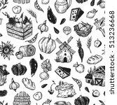 farming seamless pattern. farm  ... | Shutterstock .eps vector #513236668