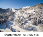 aerial view of people skiing in ... | Shutterstock . vector #513239518