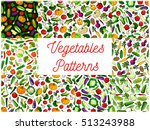 vegetables patterns. seamless... | Shutterstock .eps vector #513243988