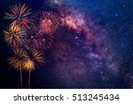 Fireworks With Blur Milkyway...