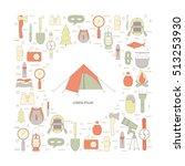 hiking icons set. camping...   Shutterstock .eps vector #513253930