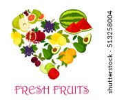 fresh fruits heart. vector... | Shutterstock .eps vector #513258004